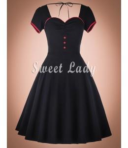 Čierne vintage šaty s výstrihom na chrbte