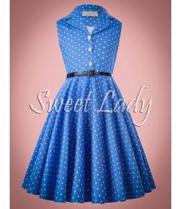 Detské bodkované šaty v štýle 50.-tych rokov