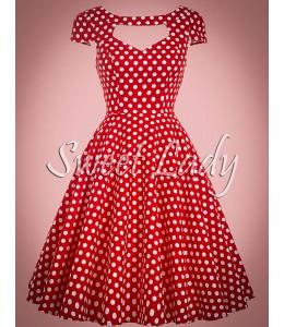 Bodkované šaty v štýle vintage so širokou sukňou