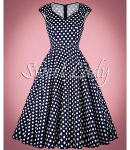 Bodkované vintage šaty so širokou sukňou Terezka