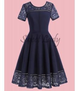 Tmavomodré vintage šaty s čipkovanými rukávmi