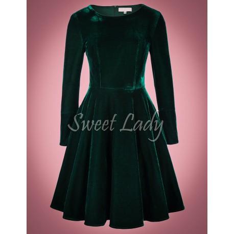 Zelené zamatové retro šaty