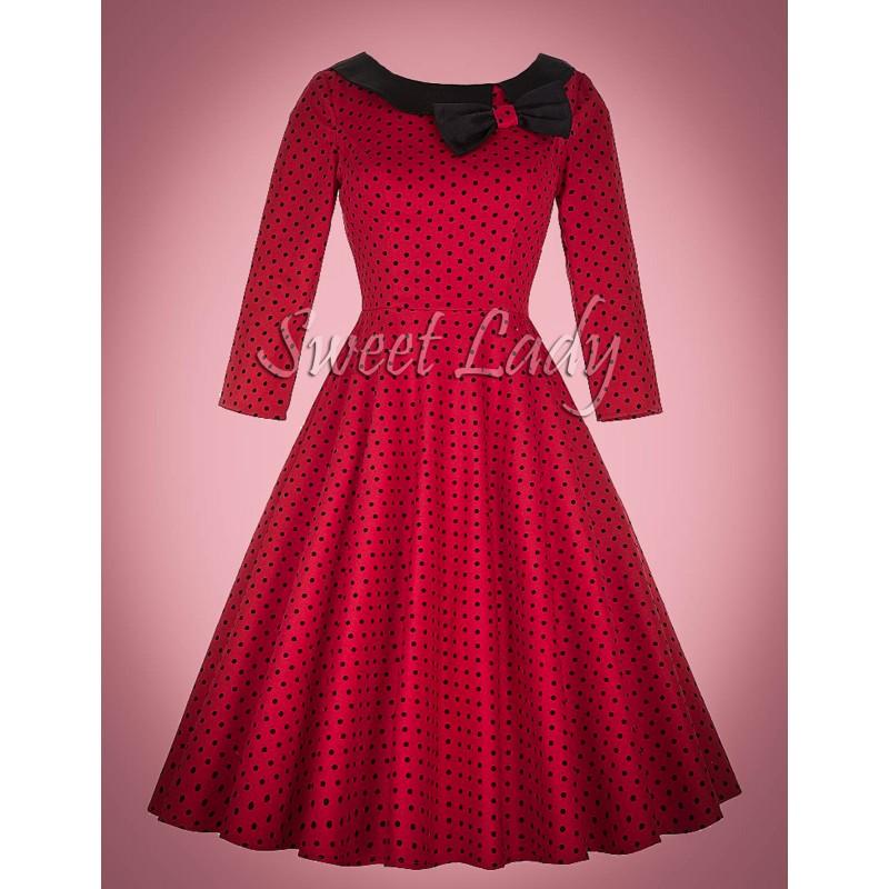 086b1ba39565 Červené bodkované retro šaty s mašľou. Loading zoom