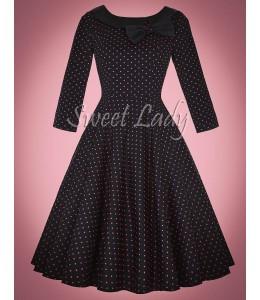 Bodkované vintage šaty s 3/4 rukávom