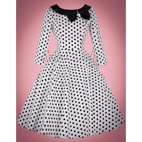 Biele bodkované vintage šaty