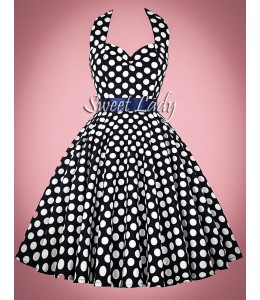 Tmavomodré bodkované vintage šaty okiolo krku