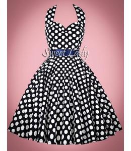 Tmavomodré bodkované vintage šaty okolo krku
