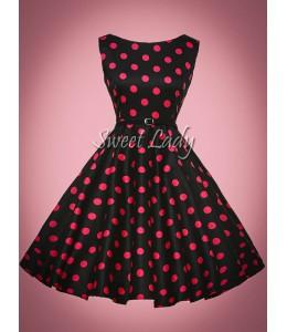 Čierne vintage šaty s ružovými bodkami