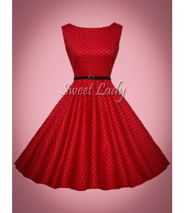 Červené bodkované retro šaty s opaskom