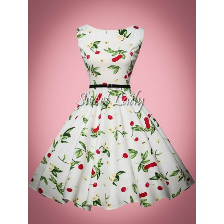 Retro šaty s čerešňovým vzorom
