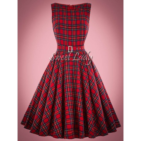 Kockované vintage šaty s opaskom