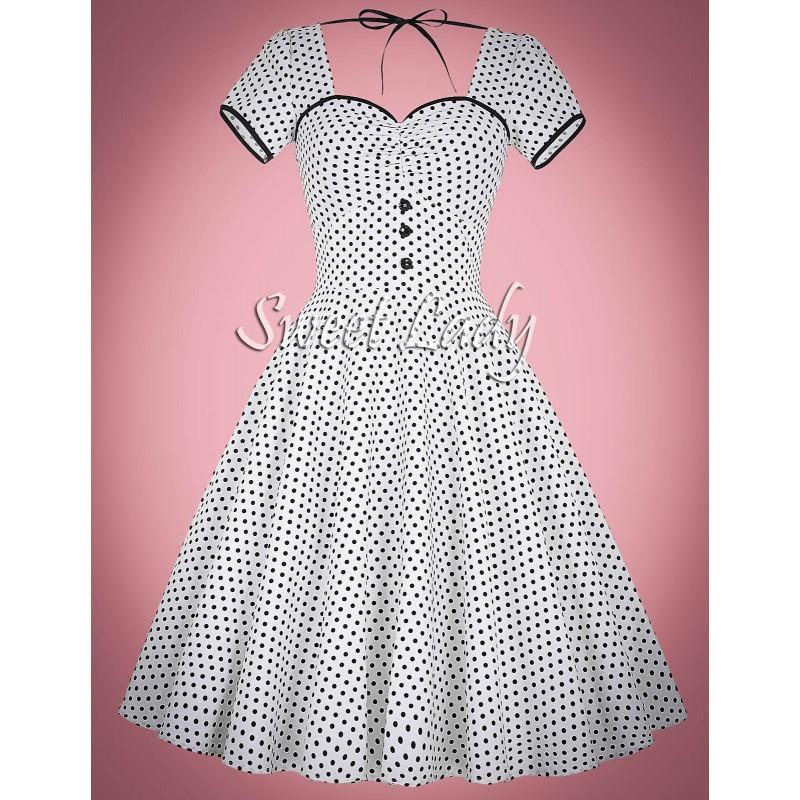 c3a6aff0e638 Biele bodkované šaty s krátkym rukávom na predaj