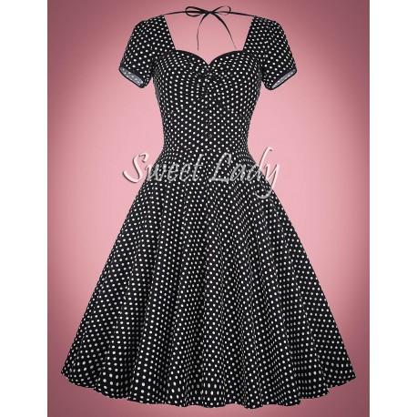 Čierne bodkované vintage šaty s áčkovou sukňou