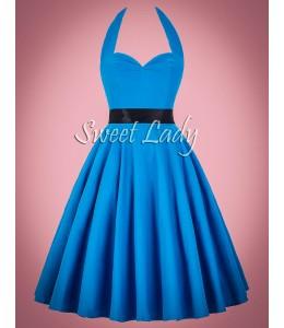 Bledomodré retro šaty s viazaním okolo krku