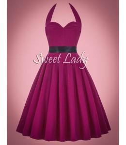 Fuchsiové retro šaty s opaskom