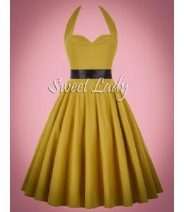 Žlté vintage šaty s áčkovou sukňou