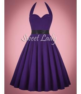 Fialové šaty v štýle 50-tych. rokov