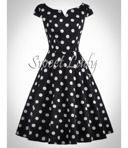 Čierne retro šaty s bielymi bodkami