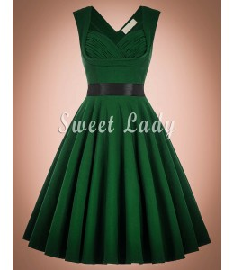 V štýle rokov 1950 zelené šaty so širokou sukňou