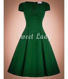 Vintage šaty zelenej farby s rukávmi