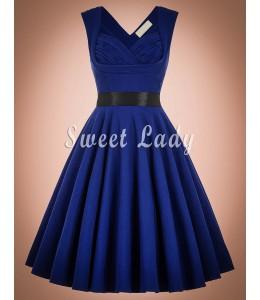 Krásne vintage modré šaty so zaujímavým výstrihom