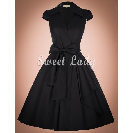 Čierne vintage šaty so širokým opaskom