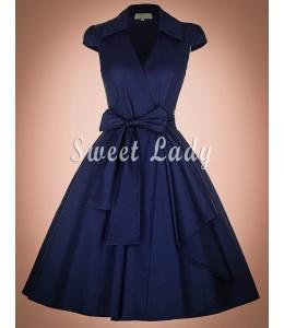 Štýlové vintage šaty v modrej farbe