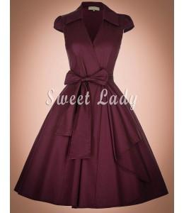 Áčkové bordové šaty v štýle 50. rokov