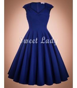 Modré retro šaty s véčkovým výstrihom