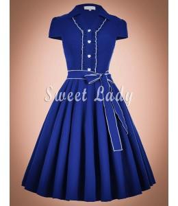 Očarujúce modré retro šaty na gombíky