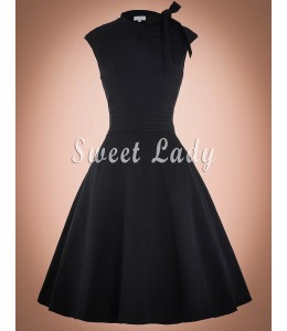 Retro šaty čiernej farby okolo krku