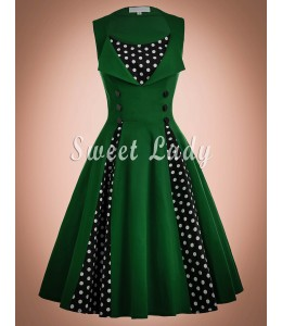 Zelené retro šaty so širokou sukňou