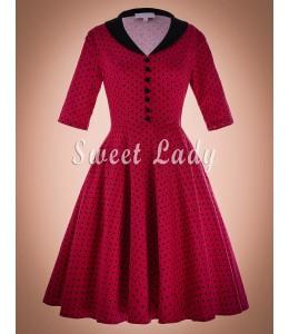 Bodkované vintage šaty s rukávikmi