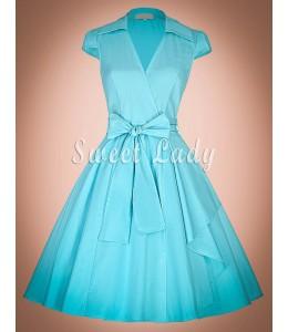 Zaujímavé modré šaty v štýle vintage