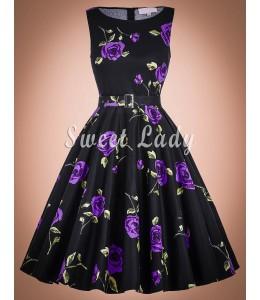 Prekrásne retro šaty s fialovými kvetinami