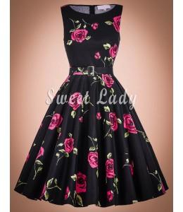 Štýlové áčkové kvetované šaty z 50. rokov