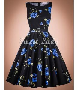 Kvetované retro šaty s áčkovou sukňou