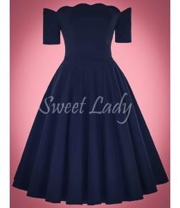 Elegantné tmavomodré šaty v štýle retro