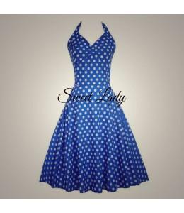 Letné modré bodkované šaty okolo krku