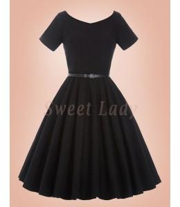 Roztomilé čierne vintage šaty s áčkovou sukňou 031