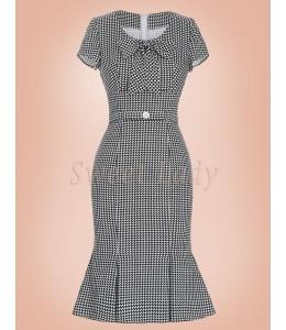 Elegantné čiernobiele šaty v štýle retro 032