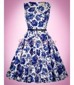 Biele retro šaty s modrými kvetmi
