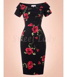 Úzke kvetované retro šaty 004