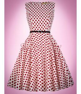Biele retro šaty s červenými bodkami
