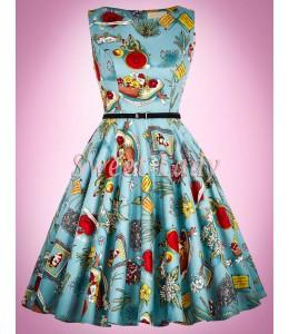 Štýlové retro šaty s originálnym vzorom