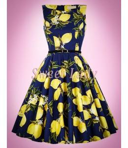 Bavlnené retro šaty s citrónmi