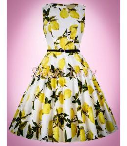 Bavlnené šaty s citrónmi v štýle vintage