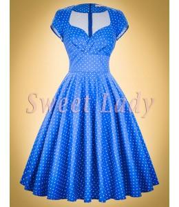 Roztomilé modré retro šaty s bielymi bodkami