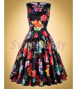 Černé retro šaty s barevnými květy