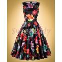 Čierne retro šaty s farebnými kvetmi